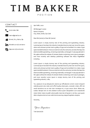 TIM BAKKER COVER LETTER TEMPLATE